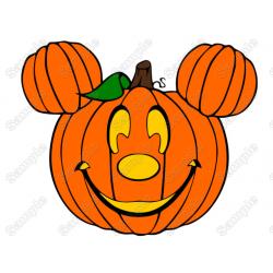 Mickey or Minnie Halloween Pumpkin Heads T Shirt Iron on Transfer Decal