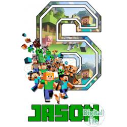 Minecraft Custom Personalized Digital Iron on Transfer (DIGITAL FILE ONLY!)