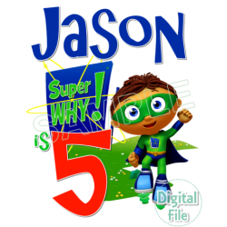 Super Why Custom Personalized Digital Iron on Transfer (DIGITAL FILE ONLY!) #17