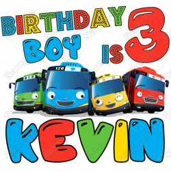 Tayo Little Bus Birthday Party Personalized T Shirt Iron on Transfer #1