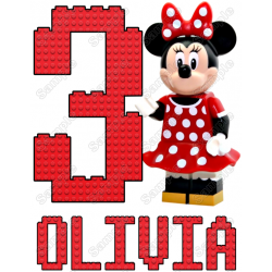 Lego Minnie Mouse Birthday Personalized Custom T Shirt Iron on Transfer Decal