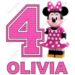 Lego Minnie Mouse Pink Birthday Personalized Custom T Shirt Iron on Transfer Decal #1