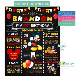 Mickey Mouse Chalkboard Birthday Sign First Birthday Clubhouse Party Board Sign Editable PDF