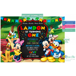 Mickey Mouse Clubhouse Birthday Invitations Instant Download Editable PDF + Free Thank You Card