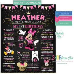Minnie Mouse First Birthday Party Chalkboard Sign Girl Editable PDF