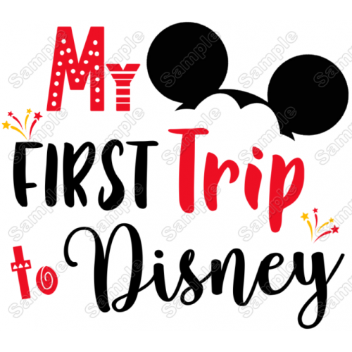My First Trip to Disney Vacation Mickey Mouse Boy T shirt Iron on Transfer