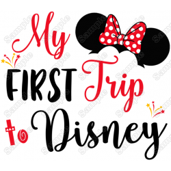 My First Trip to Disney Vacation Minnie Mouse Girl T shirt Iron on Transfer