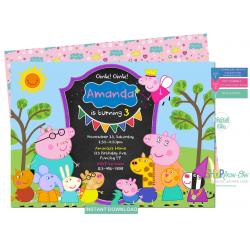 Peppa Pig Birthday Invitation Personalized George Pig Digital Editable PDF + Free Thank You Card