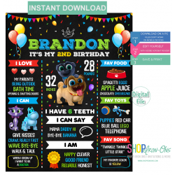 Puppy Dog Pals Birthday Chalkboard Template Birthday Boy Poster First Birthday Girl Sign Editable PDF