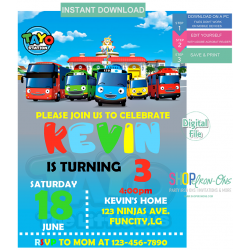Tayo Little Bus Birthday Personalized Party Invitation Instant Download Editable PDF