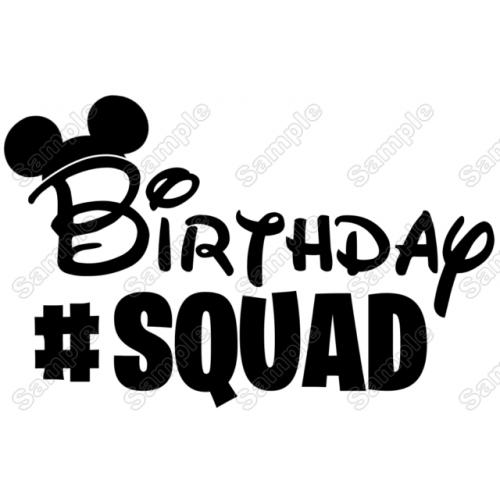 Birthday #Squad Minnie Mickey Girl T Shirt Iron on Transfer Decal by www.shopironons.com