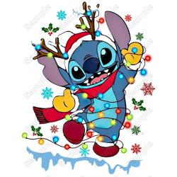 Lilo & Stitch Christmas T Shirt Iron on Transfer Decal #2A
