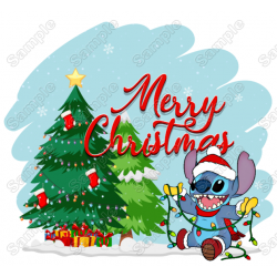 Lilo & Stitch Christmas T Shirt Iron on Transfer Decal #4A