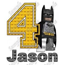 Batman Lego Birthday Personalized Custom T Shirt Iron on Transfer Decal #1