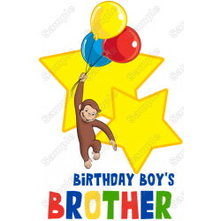 Curious George Birthday Family Member Personalized Custom T Shirt Iron on Transfer Decal