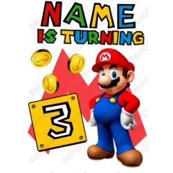 Super Mario Birthday Personalized Custom T Shirt Iron on Transfer Decal #2