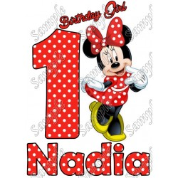 Minnie Mouse Red Birthday Personalized T Shirt Iron on Transfer #18