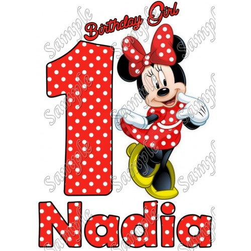 Minnie Mouse Red Birthday Personalized T Shirt Iron on Transfer #18 by www.shopironons.com