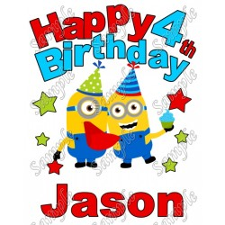 Despicable me Minion Birthday Personalized Custom T Shirt Iron on Transfer Decal #38