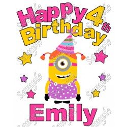 Despicable me Minion Birthday Personalized Custom T Shirt Iron on Transfer Decal #40