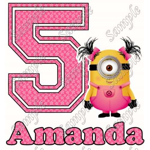 Despicable me Minion Girl Birthday Personalized Custom T Shirt Iron on Transfer Decal #93 by www.shopironons.com