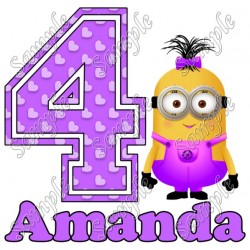 Despicable me Minion Girl Purple Birthday Personalized Custom T Shirt Iron on Transfer Decal #94