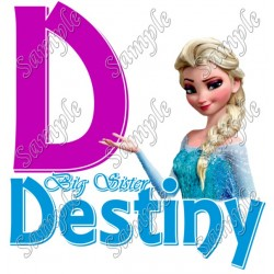 Frozen Big Sister Personalized Custom T Shirt Iron on Transfer Decal #1