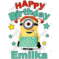 Happy Birthday Despicable Me Minion Girl Personalized Custom T Shirt Iron on Transfer Decal #2