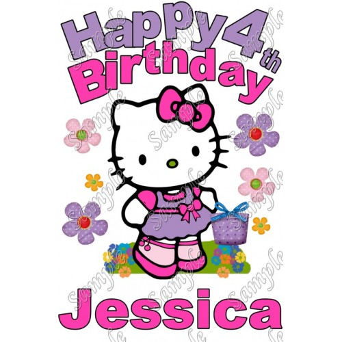 Hello Kitty Birthday Personalized Custom T Shirt Iron on Transfer Decal #1 by www.shopironons.com