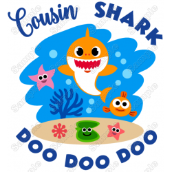 Baby Shark Cousin T Shirt Iron on Transfer Decal #1