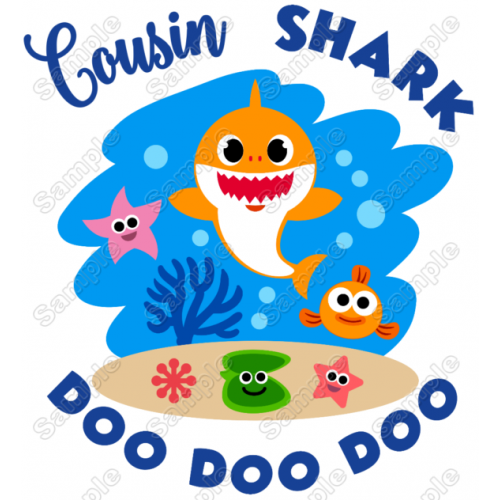 Baby Shark Cousin T Shirt Iron on Transfer Decal #1 by www.shopironons.com