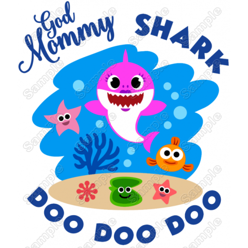 Baby Shark God Mommy T Shirt Iron on Transfer Decal #1 by www.shopironons.com