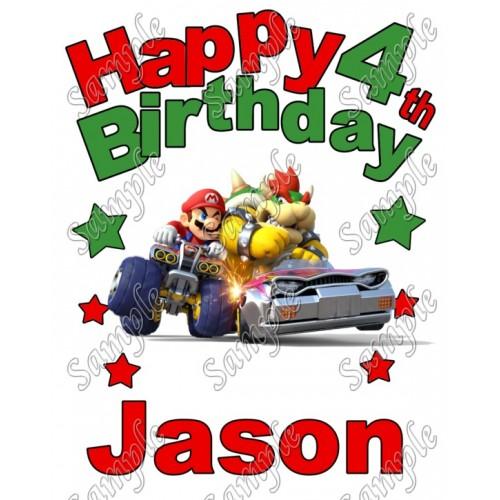 Mario Kart 8 Birthday Personalized Custom T Shirt Iron on Transfer Decal #1 by www.shopironons.com