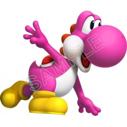 Super Mario Bros. Pink Yoshi T Shirt Iron on Transfer Decal #17