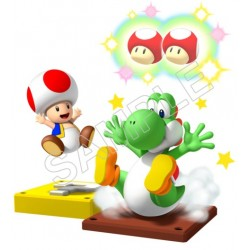 Super Mario Bros. Yoshi and Toads T Shirt Iron on Transfer Decal #33