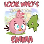 Angry Birds Pink Bird Birthday Personalized Custom T Shirt Iron on Transfer Decal #67 by www.shopironons.com