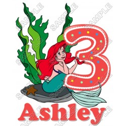 Ariel The Little Mermaid Birthday Personalized Custom T Shirt Iron on Transfer Decal #26