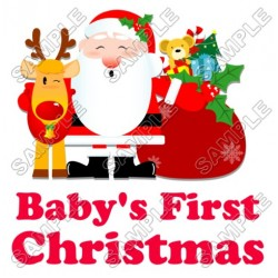 Baby's First Christmas T Shirt Iron on Transfer Decal #69