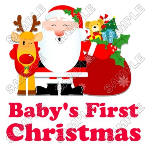 Baby s First Christmas T Shirt Iron on Transfer Decal #69 by www.shopironons.com