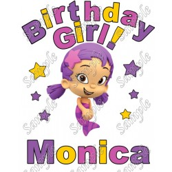 Birthday Girl Bubble Guppies Oona Personalized Custom T Shirt Iron on Transfer Decal #23
