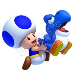 Blue toad Yoshi T Shirt Iron on Transfer Decal #24