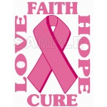 Breast Cancer Awareness ~ Love Faith Hope Cure ~ T Shirt Iron on Transfer Decal #21 by www.shopironons.com