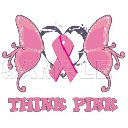 Breast Cancer Awareness ~ Think Pink ~ T Shirt Iron on Transfer Decal #20