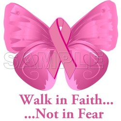 Breast Cancer Awareness ~ Walk in Faith ... ~ T Shirt Iron on Transfer Decal #17