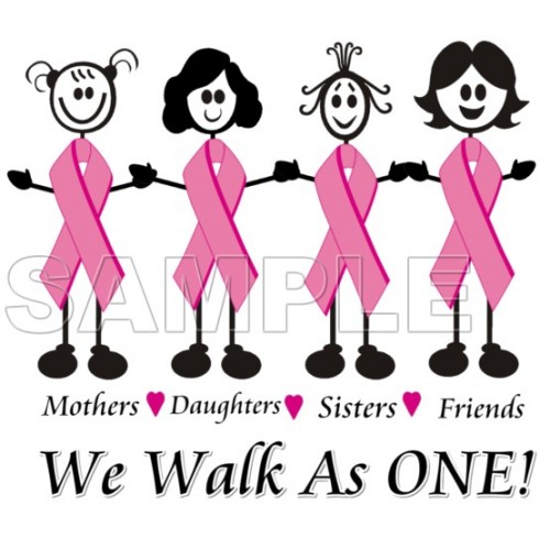 Breast Cancer Awareness ~ We Walk as One ~ T Shirt Iron on Transfer Decal #18 by www.shopironons.com
