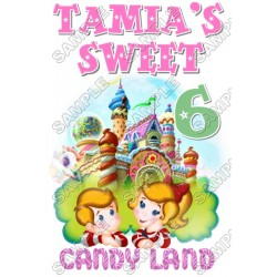 Candy Land Birthday Personalized Custom T Shirt Iron on Transfer Decal #8