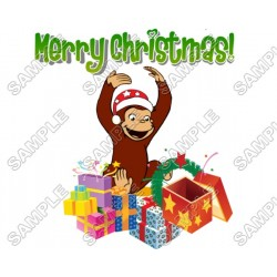 Christmas Curious George T Shirt Iron on Transfer Decal #81