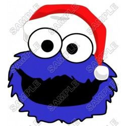 Cookie Monster Santa Christmas T Shirt Iron on Transfer Decal #52