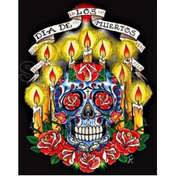 Day of the Dead Día de Muertos Skull T Shirt Iron on Transfer Decal #4