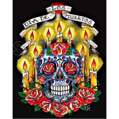 Day of the Dead Día de Muertos Skull T Shirt Iron on Transfer Decal #4 by www.shopironons.com